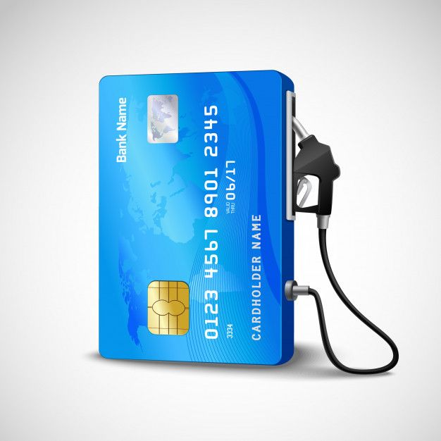 Download Realistic Credit Card With Fuel Hose Gas Station Concept