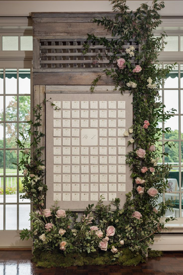Rustic wedding escort card display: Greenwich Country Club Summer Wedding