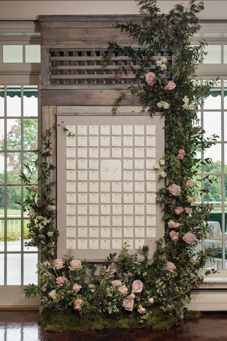Rustic wedding escort card display: Greenwich Country Club Summer Wedding