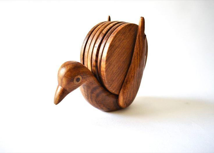 Pigeon wooden coaster set | Drevené podšálky Vtáčik