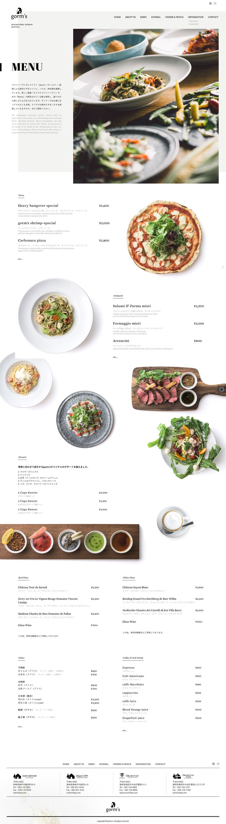 Overlapping texts, backgrounds and images. Going outside the grid. Menu restaurant website design.