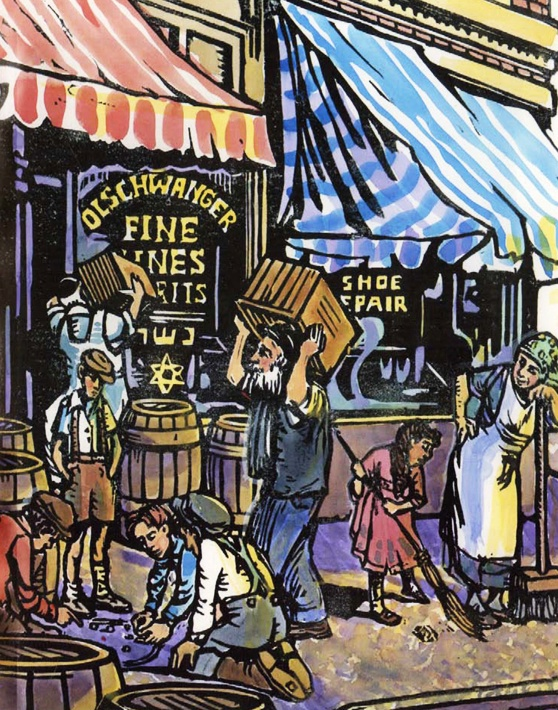 In the middle of the night on a Thursday, two crooks—onions should grow in their navels—drove their horse and wagon to the saloon of Reb Elias Olschwanger at the corner of Fourteenth and Carr Streets in St. Louis. This didn't happen yesterday. It was 1919.—Illustration by Paula Goodman Koz from the book SHLEMIEL CROOKS by Anna Olswanger. www.shlemielcrooks.com