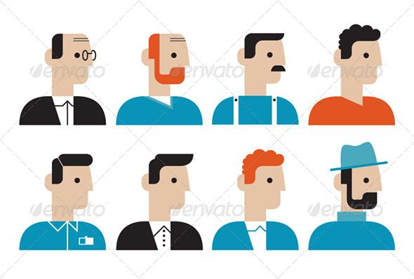 Different People Faces Flat Icons Set - Characters Vectors