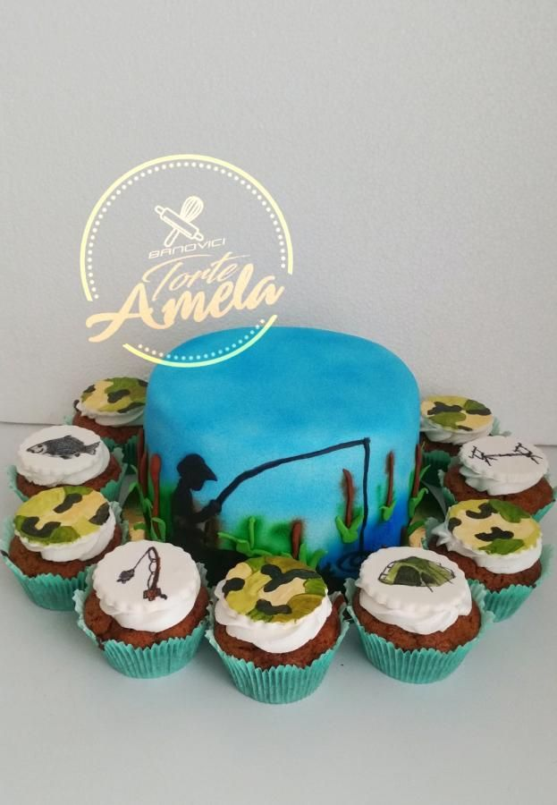 Fisherman cake and cupcakes by Torte Amela