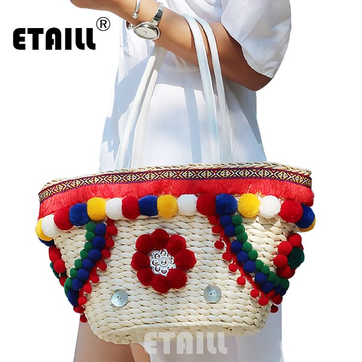 Colorful Pompon Summer Style Handbags Bohemian Boho Indian Straw Bag Famous Designer Brands High Quality Thai Woven Beach Bag