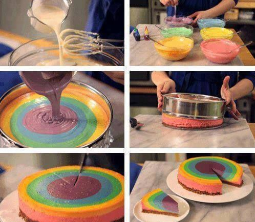Rainbow cake in 5 steps :D