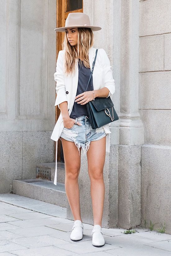 spring outfit, summer outfit, spring layers, summer layers, casual outfit, comfy outfit, summer travel outfit, summer vacation outfit, street style, street chic style - white blazer, grey t-shirt, distressed denim shorts, white strap shoes, beige fedora, blue shoulder bag