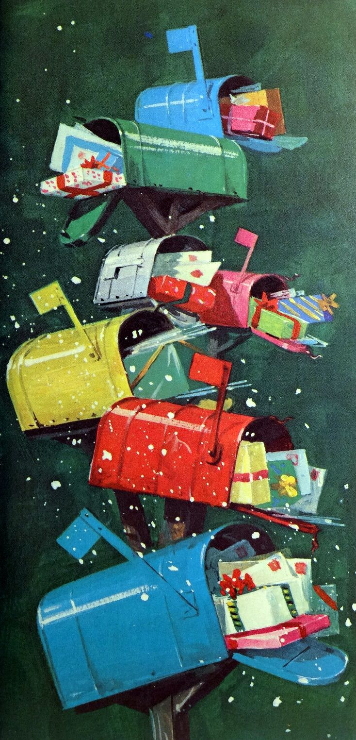 Mid-Century (1960s) Norcross Christmas card with mailboxes filled with holiday greetings.