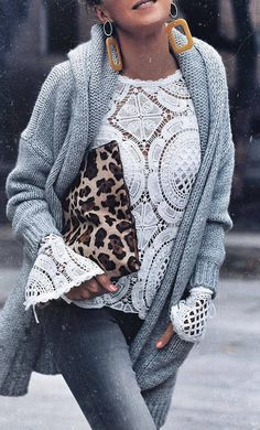 how to wear an animal printed bag : white lace top + knit cardigan + jeans