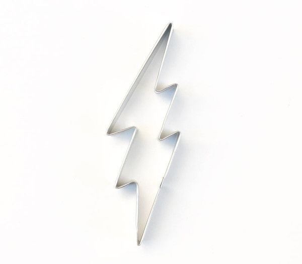 Lightning bolt cookie cutter. Our lightning cookie cutter is great for Harry Potter or Percy Jackson birthday parties and rainy day themed baby showers. Metal c
