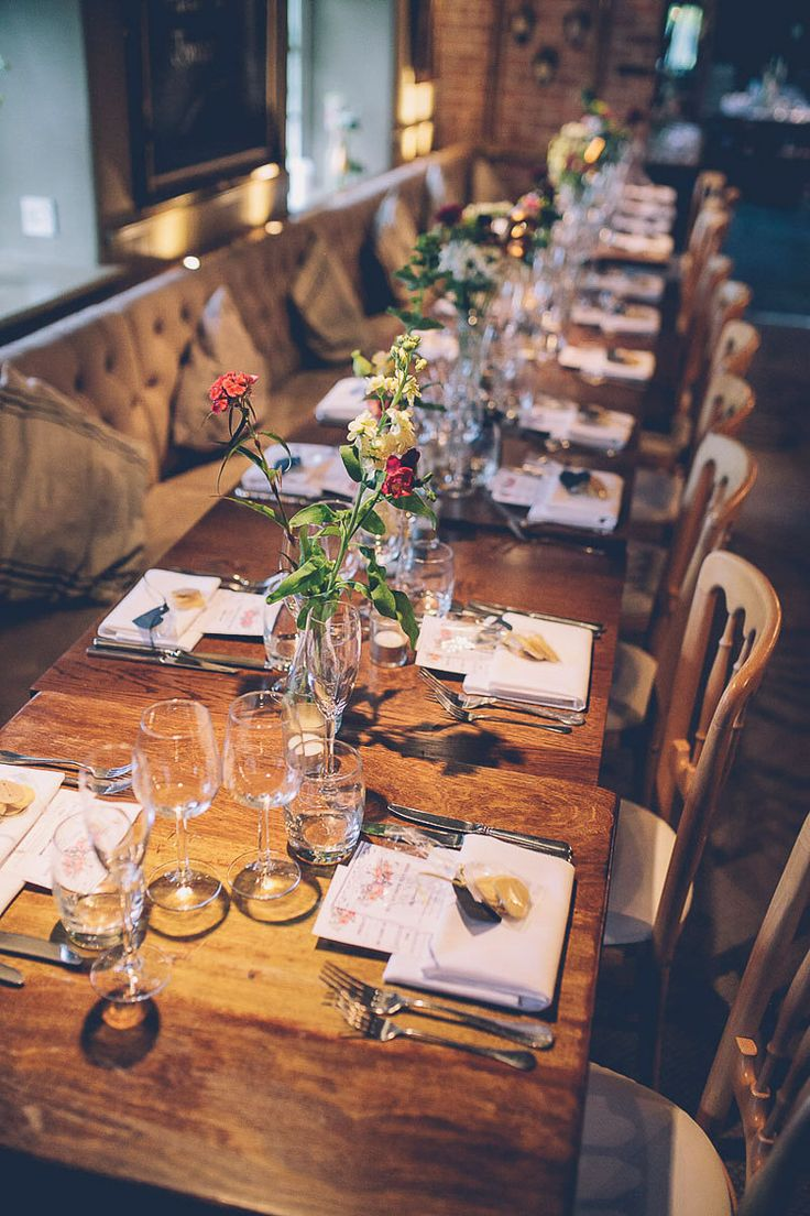 Seasonal Flowers Bottles Creative Quirky Cosy Country Pub Wedding http://storyandcolour.co.uk/