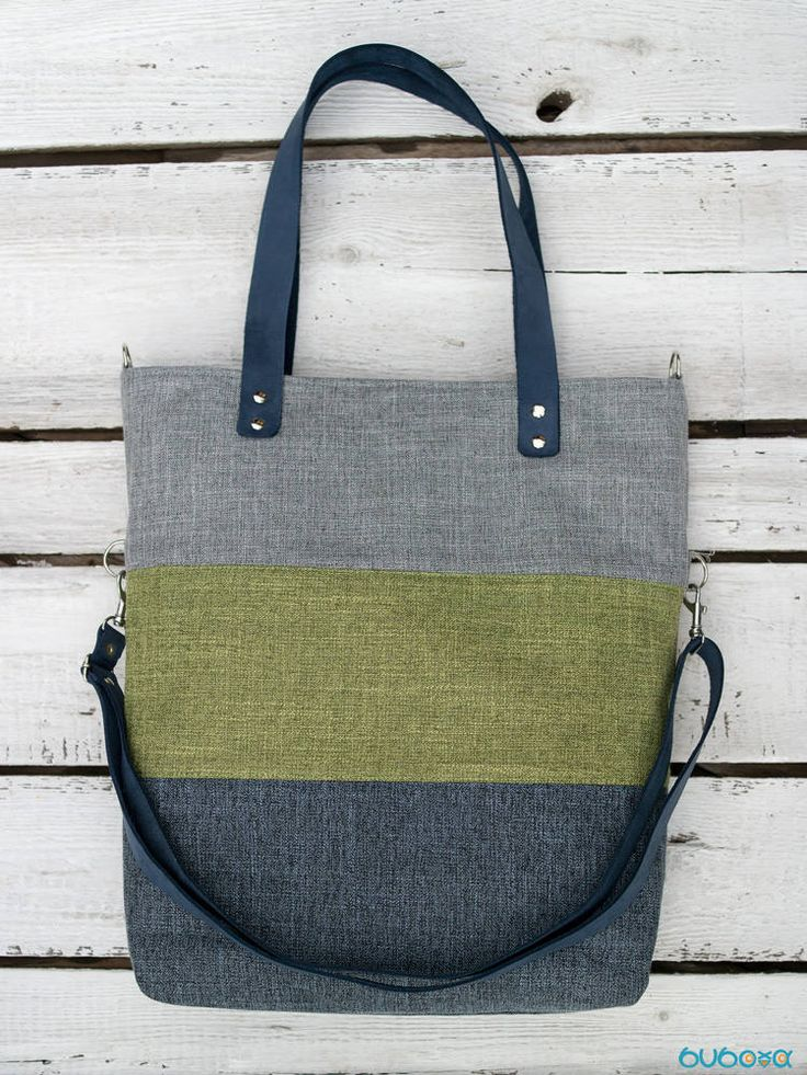 FREE SHIPPING***Grey-Green-Blue Handbag, Striped Bag, Leather Straps, Shoulder Bag, Messenger Bag, Foldover, Convertible, Canvas by buboxa on Etsy
