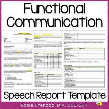 Functional Communication Speech Evaluation Report Template by RosieBeeSLP