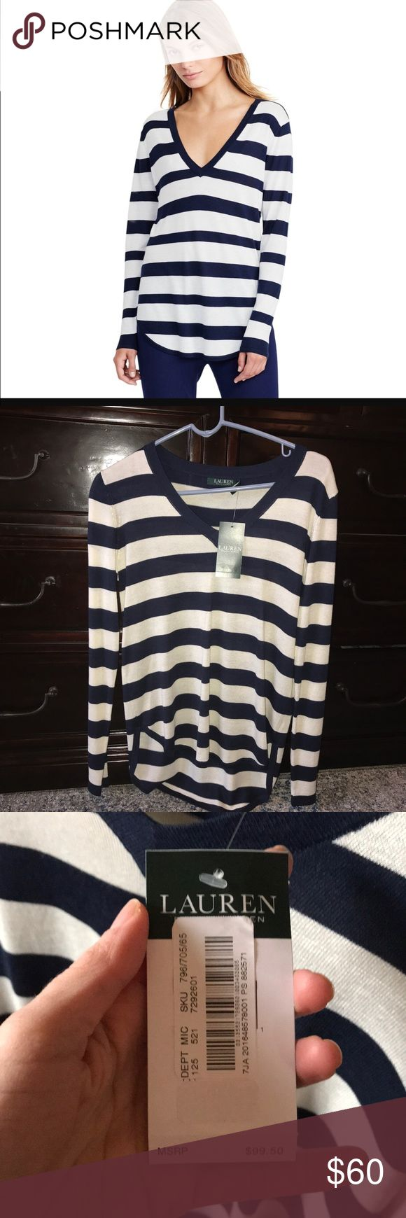 """LAUREN Ralph Lauren striped sweater Knit from a fine-gauge silk blend, Lauren Ralph Lauren's season-spanning sweater's effortlessly chic drape is enhanced by its asymmetrical hem. Relaxed fit. V-neckline. Curved hem falls lower at the back. Measures 25"""" shoulder to front hem. 18"""" under arm to under arm. Size Small Petite. Non smoker. Brand new with tags, no flaws. Lauren Ralph Lauren Sweaters V-Necks"""