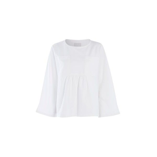 White Denim Smock Top by Waven (43 CAD) ❤ liked on Polyvore featuring tops, white, white top, smocked top, smock top and denim top