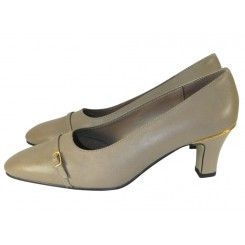 Marks & spencer taupe leather low heel court shoe small buckle trim