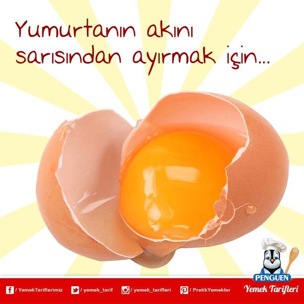 Yumurtanın akını sarısından ayırmak için yumurtayı huninin içine kırın. Akı akacak sarısı ise hunide kalacaktır.