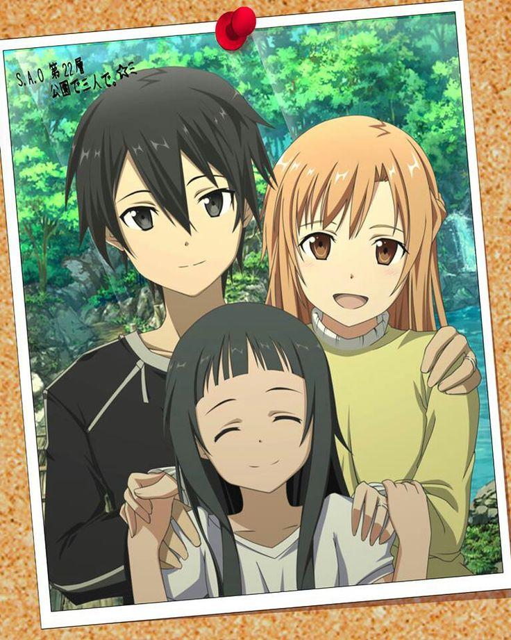 Sword Art Online - Kirito, Yui, and Asuna. Weirdest little family ever, but yet so precious... ahaa!! More like Noah, Sparks & Liyah!