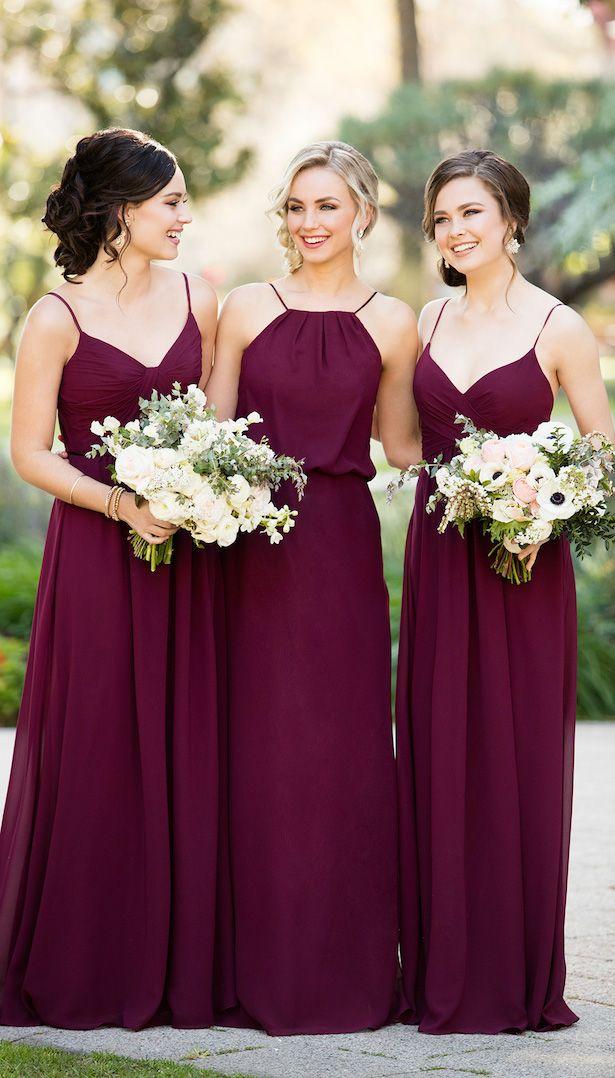Mix and Match Burgundy Bridesmaid Dresses by Sorella Vita