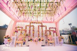 Beautiful wedding stage decor. Light pink and peach . So #gorgeous #weddingdecor…