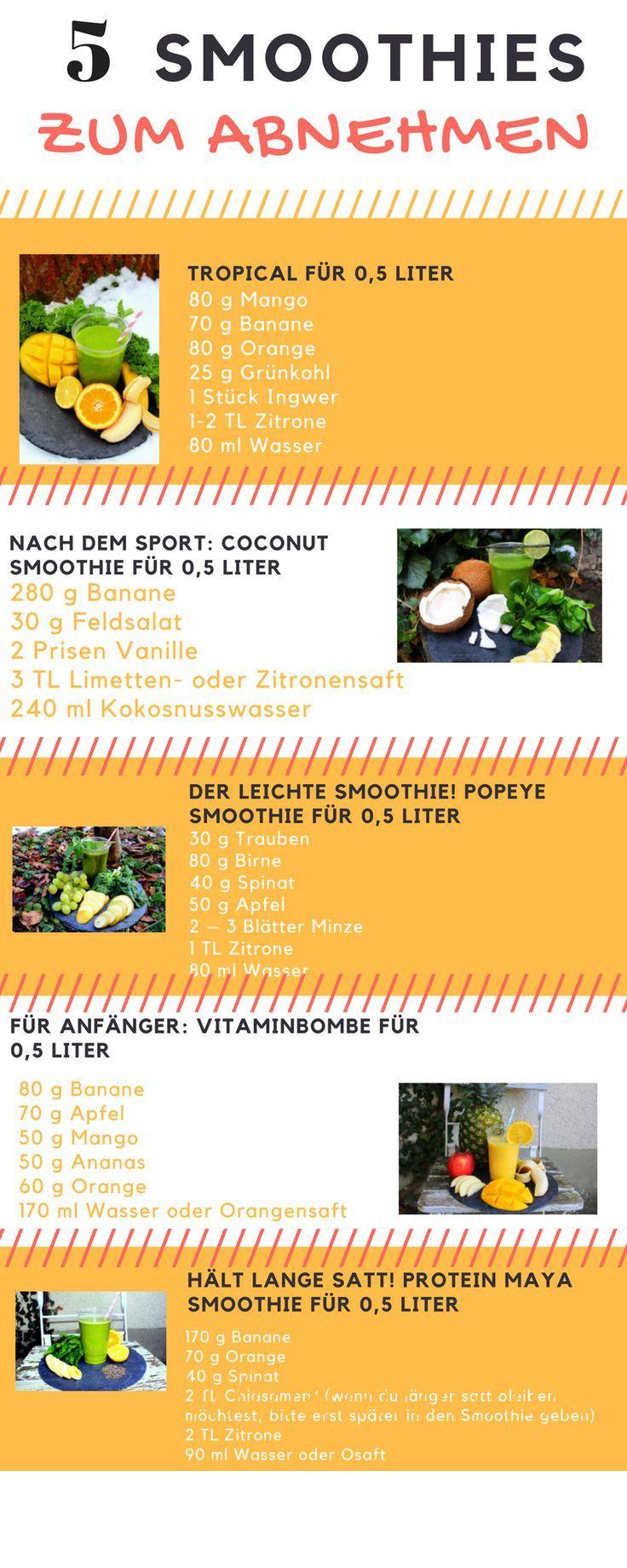 Smoothie Rezepte für 5 verschiedene Smoothies zum Abnehmen. Proteinsmoothie nac…
