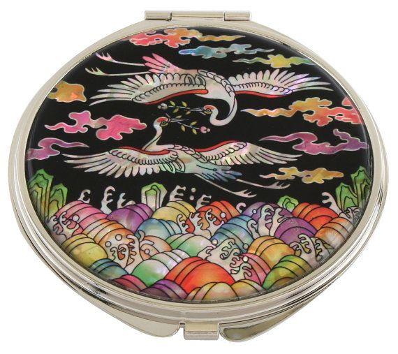 Mother of Pearl Makeup Mirror crane & sea Design Cosmetic mirror Handbag Purse handheld Compact hand pocket Mirror #36