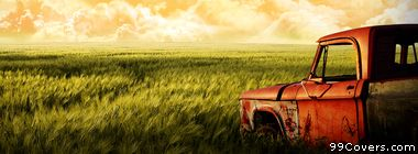 vintage rusty red truck Facebook Cover