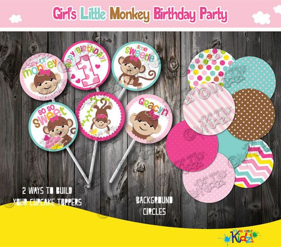 Girl's Little Monkey Birthday cupcake toppers, Monkey Party Invitation, First Birthday zoo party,1st Birthday party, mod Monkey, sock monkey