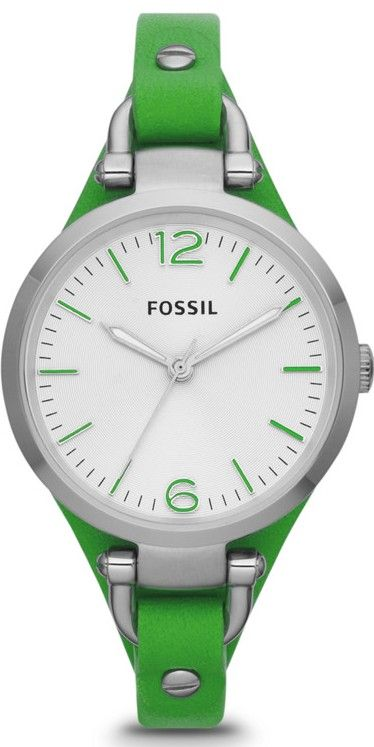Fossil Watches, Women's Georgia Three Hand Leather Watch - Green #ES3298