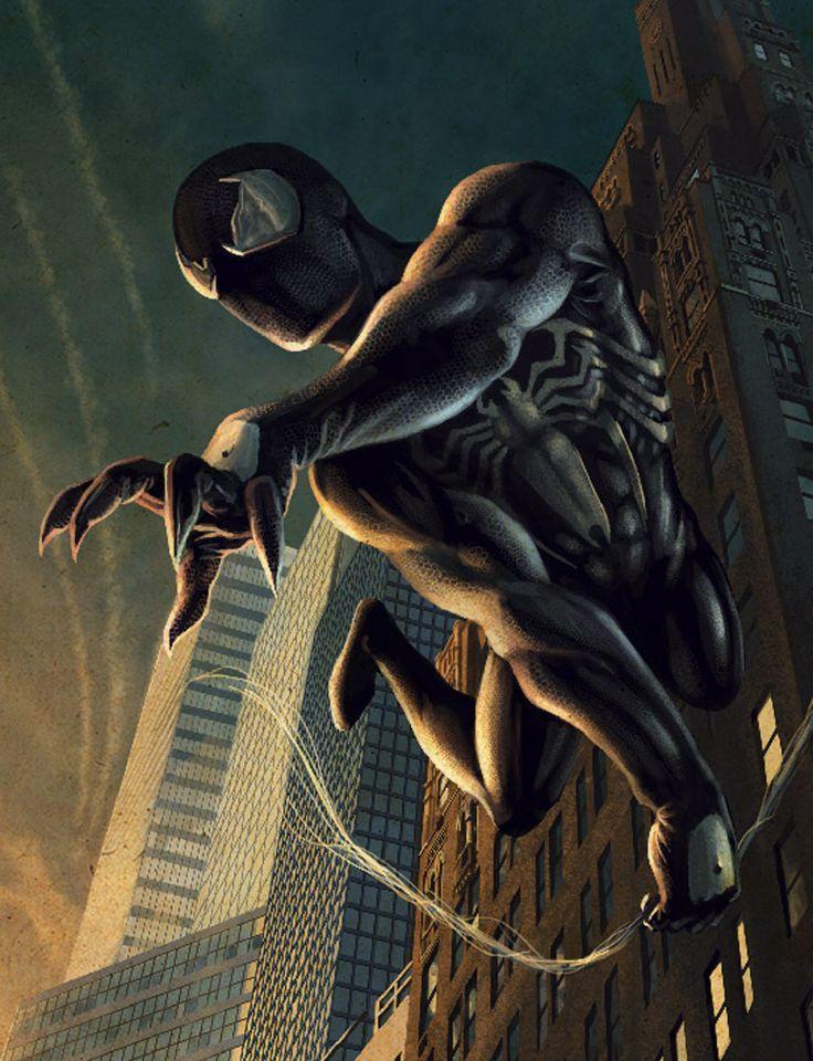 Классные картинки человека паука в черном