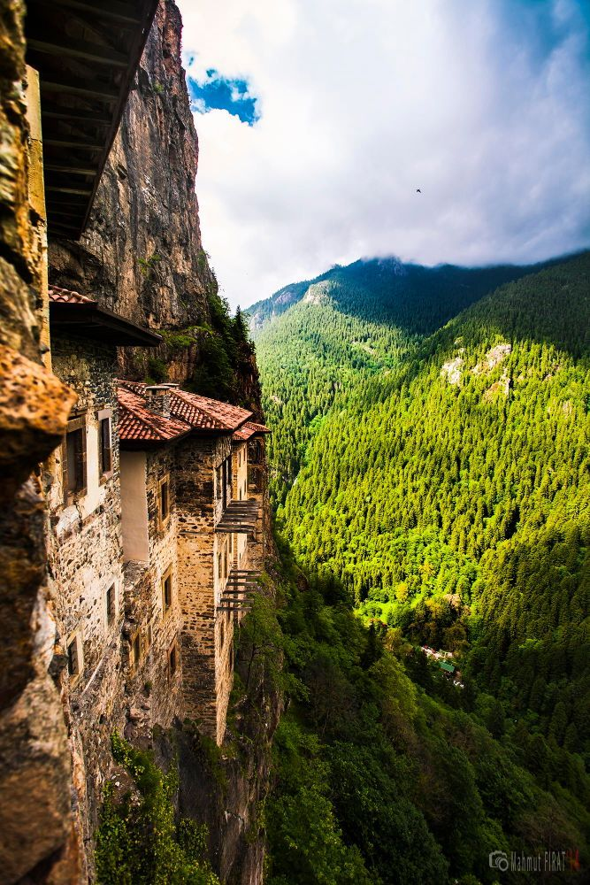 Sumela Monastery from the 4th century AD, built on a precipice in Macka district of Trabzon with precious frescoes (by Mahmut Firat)