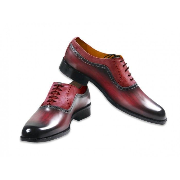 Jacopo Ridolfi handmade hand-painted men's leather Oxford shoes 'Brown Wood with suede Marsala'