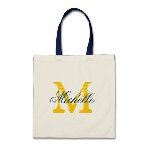 Monogram Navy Blue and Yellow custom tote. | Perfect for bride on her wedding.