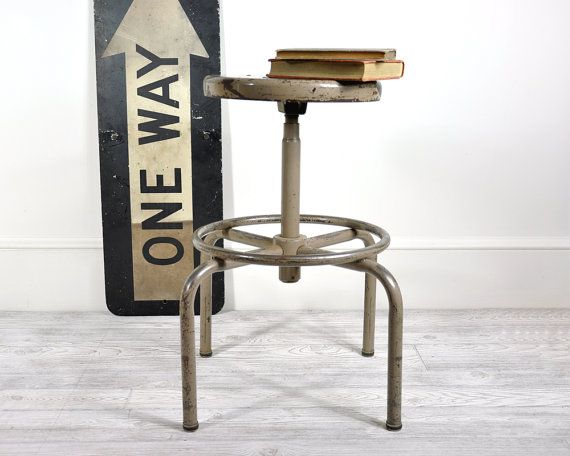 Vintage Industrial Metal Stool / Industrial Decor by havenvintage, $78.00