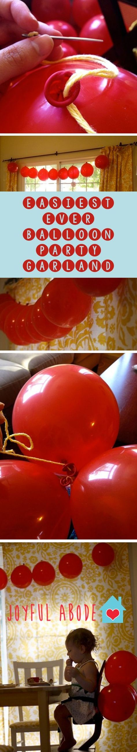 easiest EVER balloon party garland. Make garlands to hang or bunches to decorate with. | DIY party decor | DIY balloon decorations | balloon decor ideas | how to decorate with balloons | how to decorate for a party | homemade party decor | DIY balloon garland | easy party decor ideas || Joyful Abode
