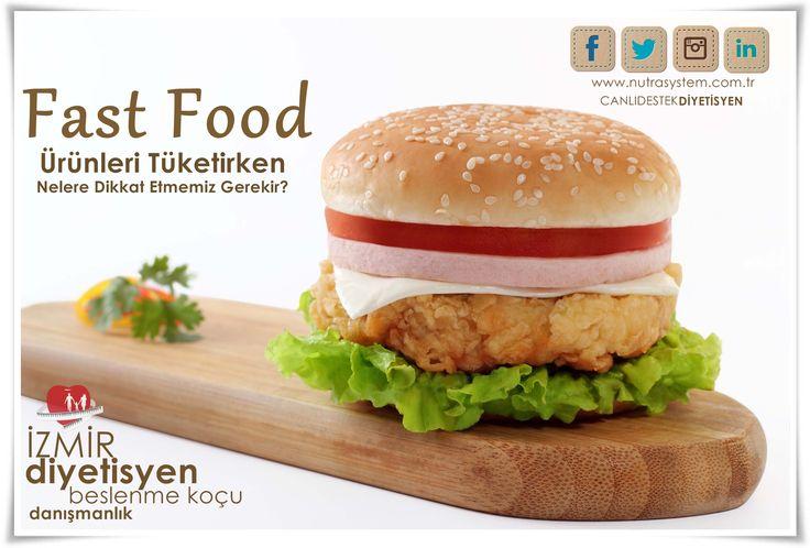 NUTRA SYSTEM | SAĞLIKLI BESLENME | BESLENME DANIŞMANLIĞI   Fast Food Ürünleri Tüketirken Nelere Dikkat Etmemiz Gerekir?  Fast-food ürünlerinin seçiminde sağlıklı beslenme ilkeleri dikkate alınmalıdır. Fırında veya ızgarada pişmiş besinler, et, tavuk ve balık içeren sandviçler ve düşük yağlı besinler tercih edilmelidir. Asitli, şekerli ve gazlı içecekler yerine vitaminlerden zengin taze sıkılmış meyve suları, az yağlı salatalar ve kalsiyum içeren süt, ayran veya sütlü tatlılar tüketilmelidir.