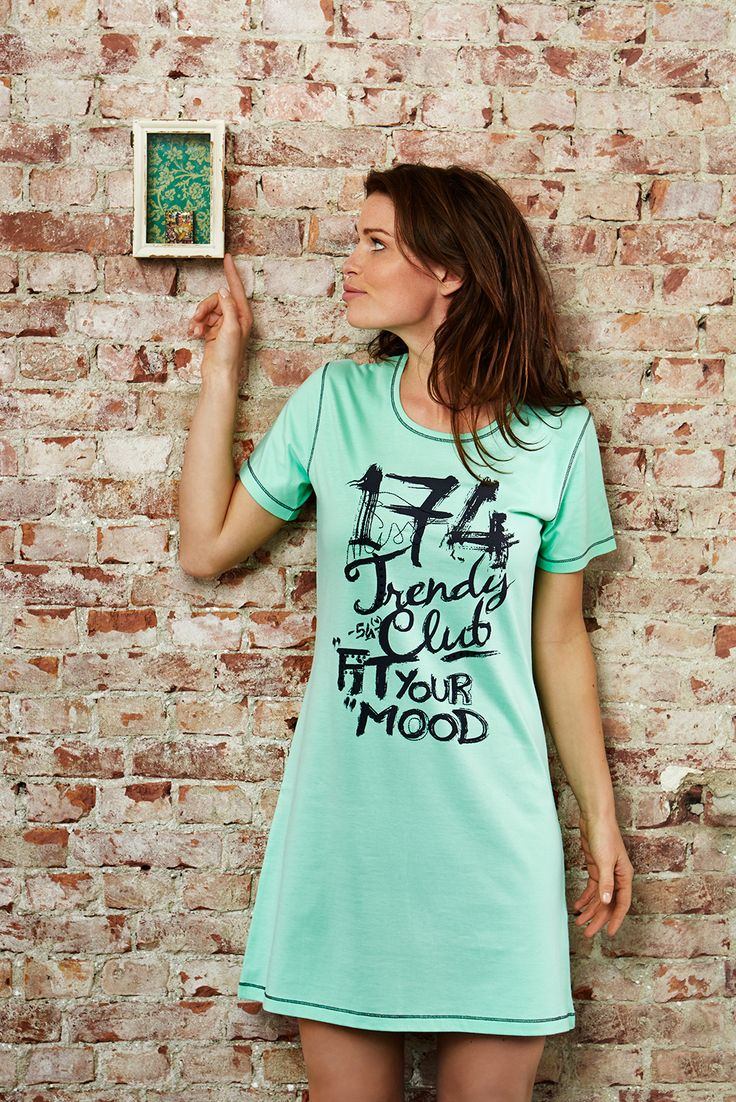 Rebelle Miss Trendy Club 174 - Fit Your Mood spring green short sleeved 100% cotton nightdress
