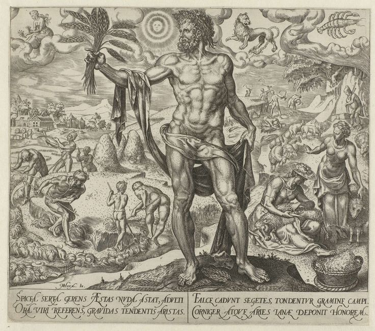 Philips Galle | Zomer, Philips Galle, Hadrianus Junius, 1563 | In de voorgrond de personificatie van de Zomer: een volwassen man, gekroond met een korenkrans. In zijn handen enkele korenaren. Op de achtergrond zomertaferelen: hooiende en oogstende boeren. Schapen die worden gewassen en geschoren en een herder met zijn schapen. Boven in de lucht de drie astrologische tekens van de zomer: Kreeft, Leeuw en Maagd. De prent heeft een Latijns onderschrift en is deel van een vierdelige serie over…