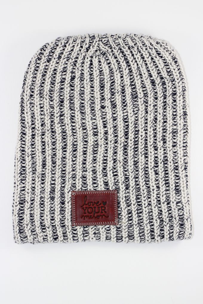Navy Speckled Leather Patched Beanie - Love Your Melon