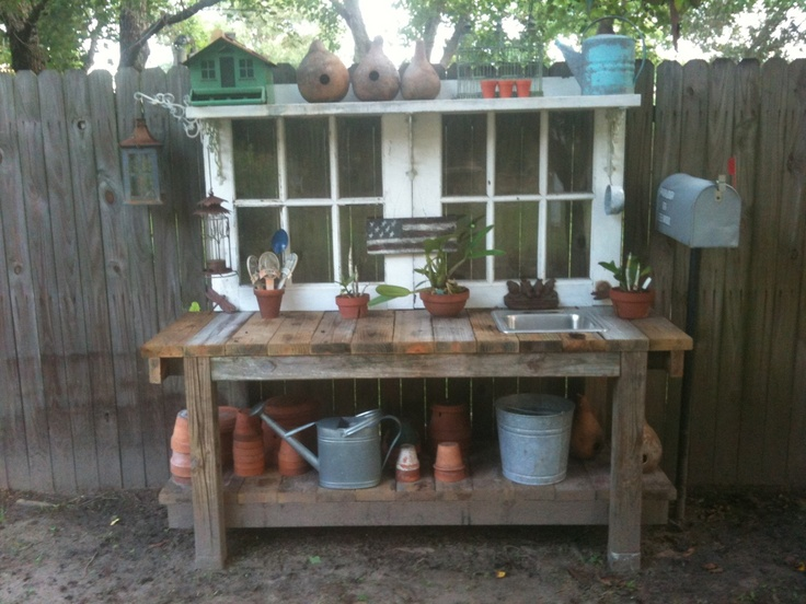 potting bench made from recycled materials