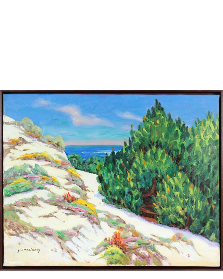 """Oil on canvas, contemporary frame.  31"""" x 25""""  Origin: California  Condition: Vintage.  This mid-late 20th century oil on canvas scene is by Frederick Pomeroy (1924-2011), a Carmel Valley painter and teacher.  He studied at California College of Arts and Crafts (now CCA) in Oakland during the 1940s and the Ecole des Beaux Arts in Fontainebleau, France in 1951, where he was awarded a prize for painting from the French Cultural Department.  Pomeroy exhibited and traveled widely throug..."""