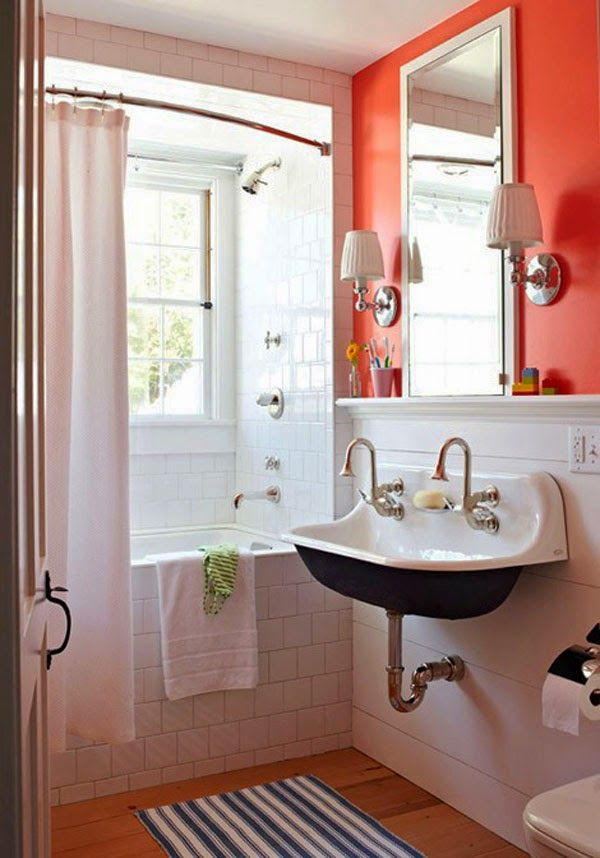 That Sink Is So Cool And I Actually Really Love That Super Bright Coral Wall Color In The Otherwise White Bathroom My House My Home