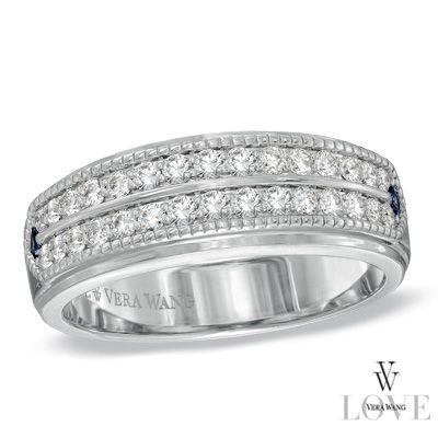 Angara Triple-Row Diamond Vertical Stripe Ring for Him OoM5c3YSs