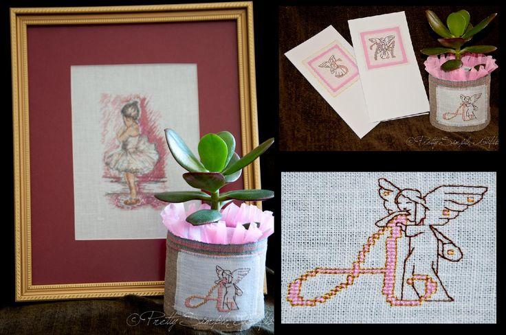 https://www.facebook.com/PrettySimpleGifts Little balerina in a frame, cards and flower pot decor.
