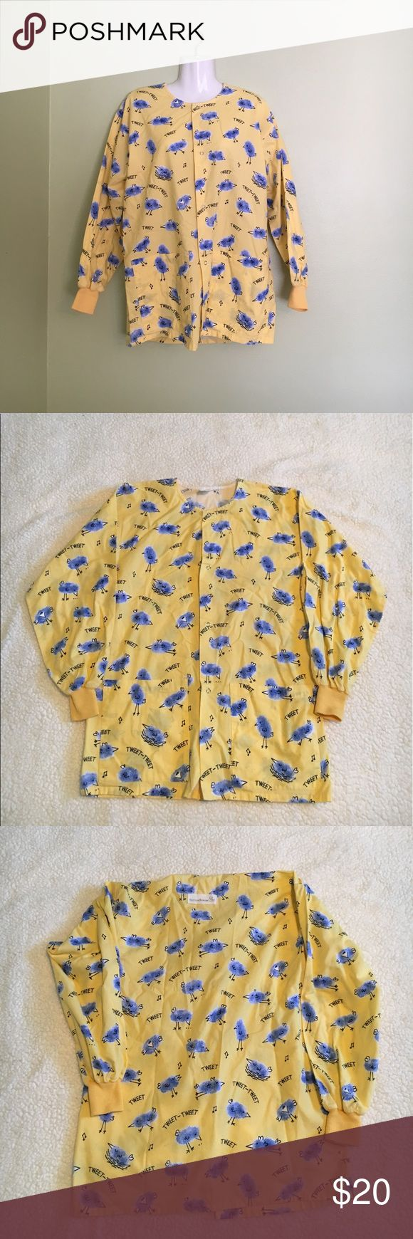 """TWEET birdie bright yellow scrub jacket in XS TWEET birdie bright yellow scrub jacket in extra small for women   Adorable scrub jacket/uniform  made by Cotton Scrub and Co featuring a bright yellow hue with blue birdies and the words """"TWEET"""" throughout   The perfect scrub jacket for pediatrics or to just brighten your patients day   Scrub jacket measures 28.5 inches in length and 18 inches from below the armpit down   Jacket comes from a clean, smoke-free home Cotton Scrubs & Co Jackets…"""