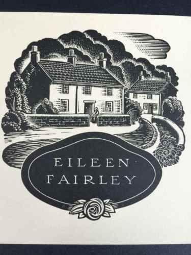 EX-LIBRIS-BOOKPLATE-AUSTRALIAN-Allan-Jordan-1898-1982-for-Eileen-Fairley-BLACK