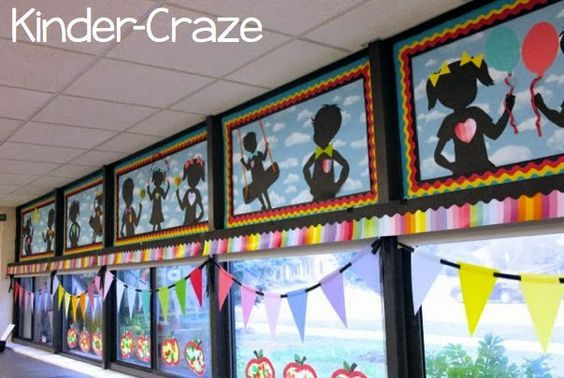 Rainbow Chalkboard, bright, children silhouettes, Kindergarten, Kinder-Craze, classroom theme and decor ~Classroom decor by Schoolgirl Style www.schoolgirlstyle.com: