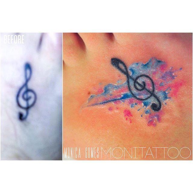 Music tattoo | remaking #watercolourtattooartist #watercolourtattoo #watercolor…