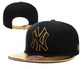 Casquette NY New York Yankees MLB Snapback Noir Or Casquette New Era Pas  Cher
