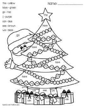 kindergarten - printable color by sight word pages   Christmas Tree & Santa Color By Sight Word FREEBIE!!!